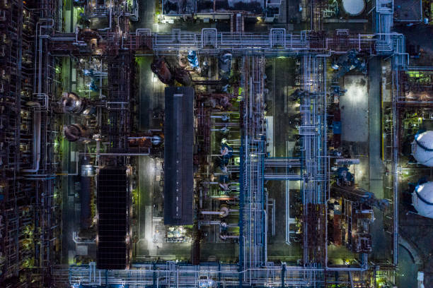 landscape of dimly lit factory area - dimly stock pictures, royalty-free photos & images