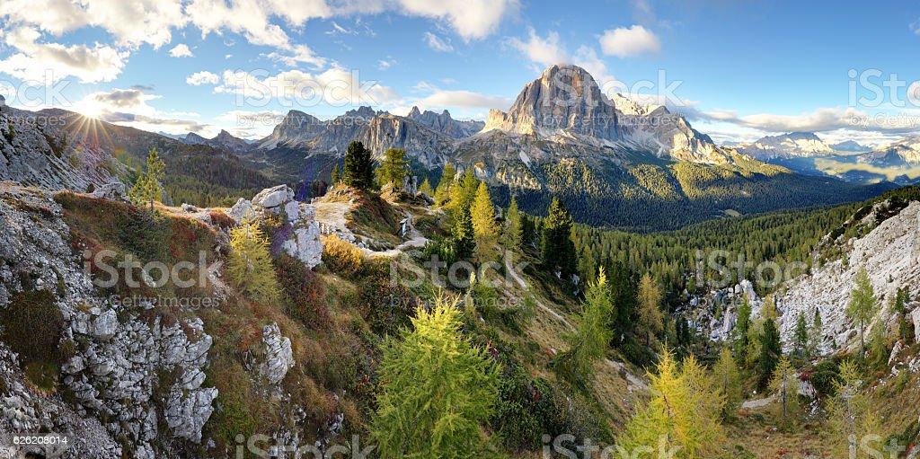 Landscape of Dolomites Mountain, Italy alp stock photo