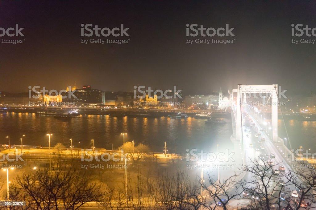 Landscape of Elizabeth Bridge and the streets of Budapest stock photo