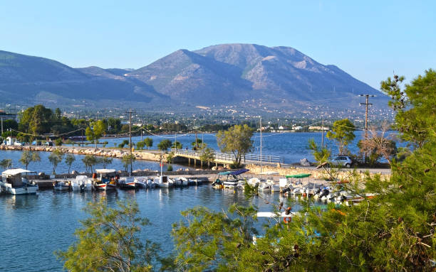 landscape of Eretria as seen from Dreams island Euboea Greece stock photo
