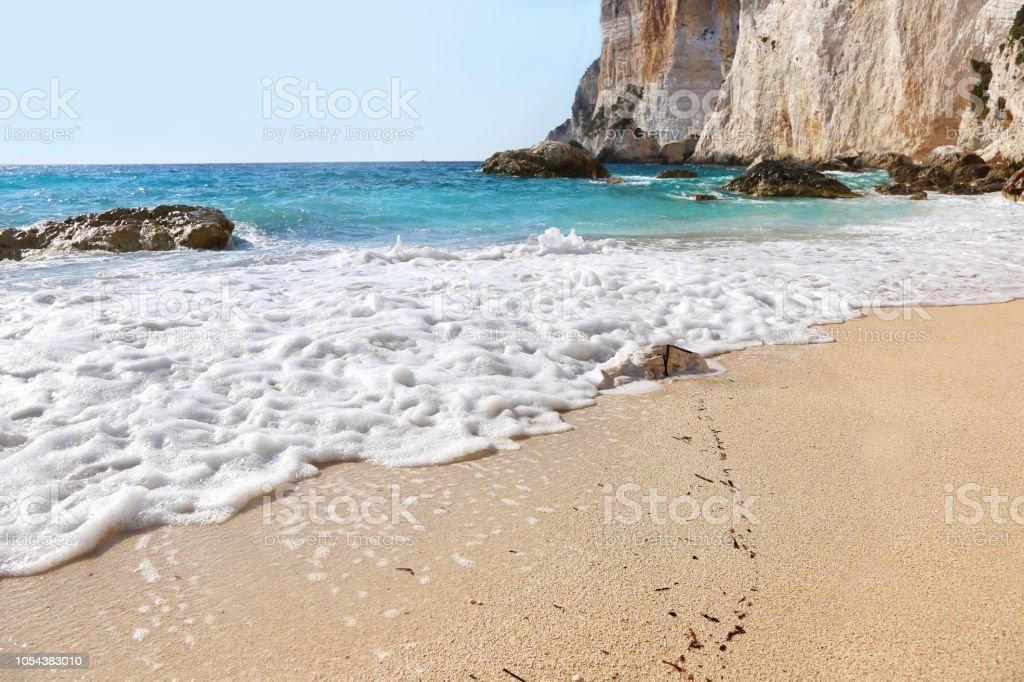 paisagem da praia de Erimitis na Grécia Ilhas Jónicas de Paxos - foto de acervo