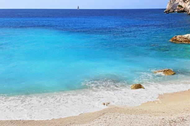 landscape of Erimitis beach at Paxos island Greece stock photo
