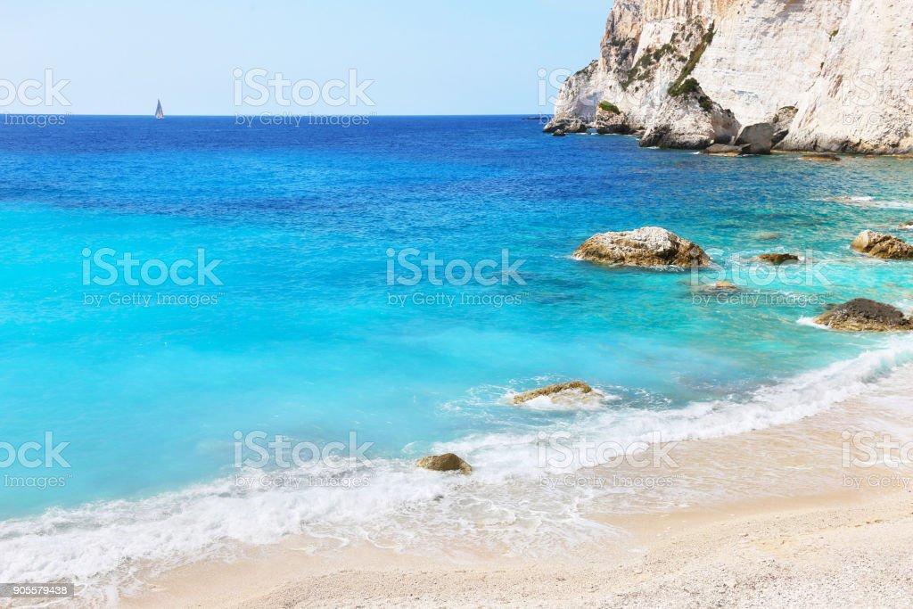 paisagem da praia Erimitis Paxos Ilhas Jónicas Grécia - foto de acervo