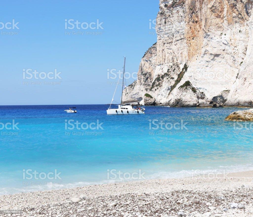 paisagem de Erimitis praia ilha de Paxos Grécia - foto de acervo