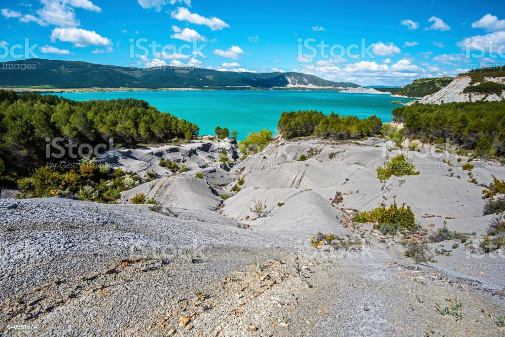 Landscape of eroded borders of Yesa lake in Spain stock photo