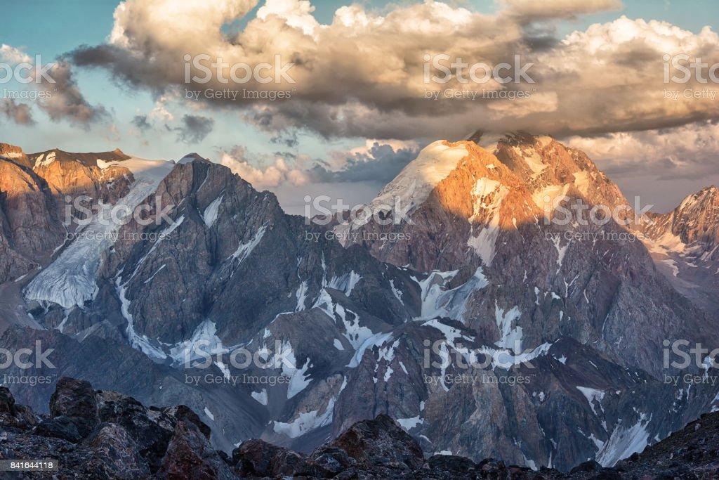 Landscape of Fan mountains in Tajikistan with peaks stock photo