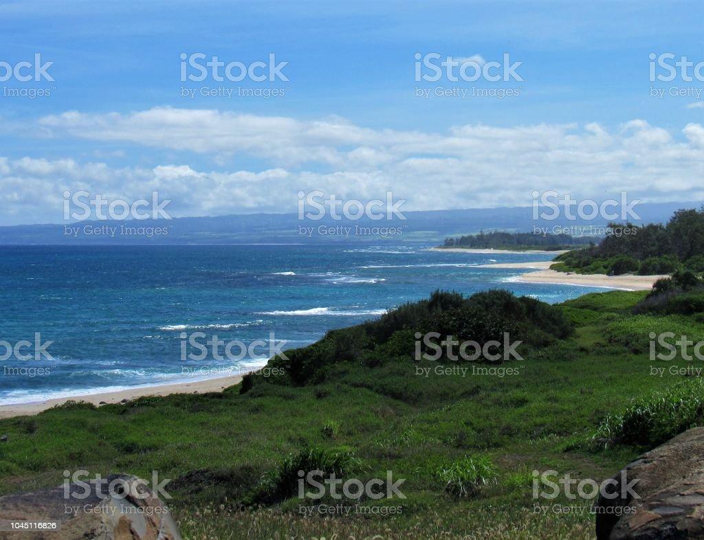 Landscape Of Far Nw Corner Of Oahu Hawaii Stock Photo