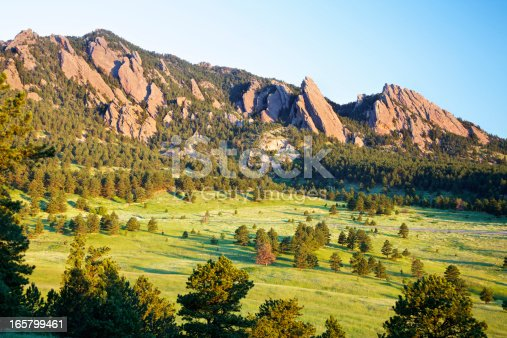 Sunrise over the Flatirons in Boulder Colorado.