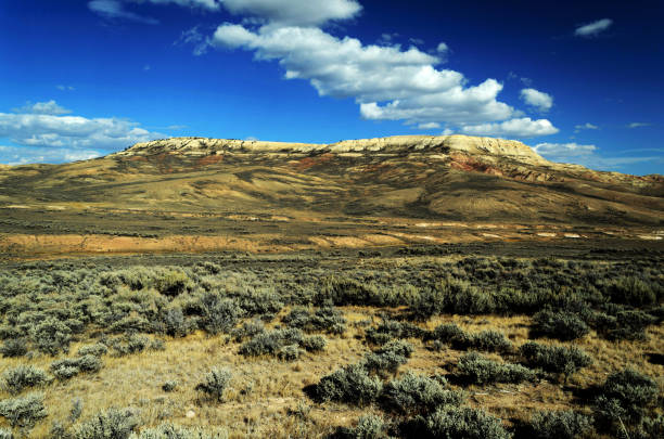 Landscape of Fossil Butte, Wyoming, in September stock photo
