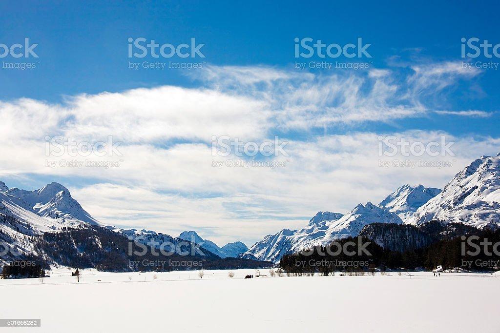 landscape of frozen lake in saint moritz stock photo