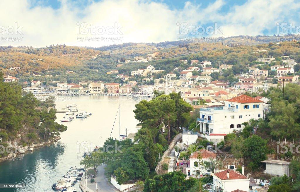paisagem de Gaios Paxos ilha Grécia - foto de acervo