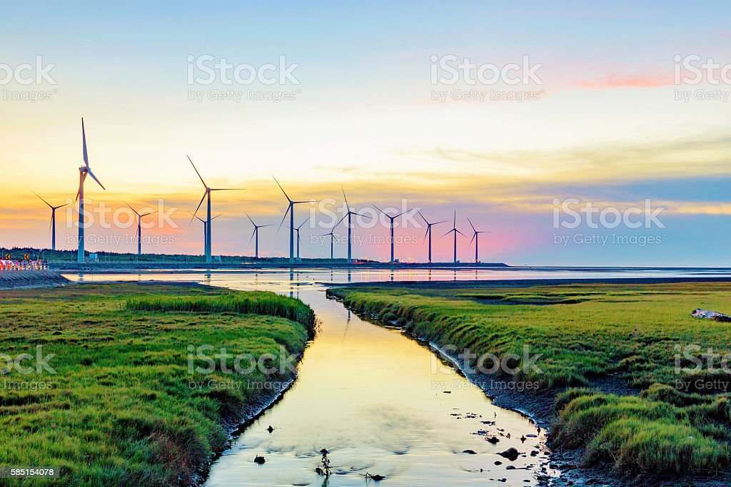 Landscape of Gaomei wetlands stock photo