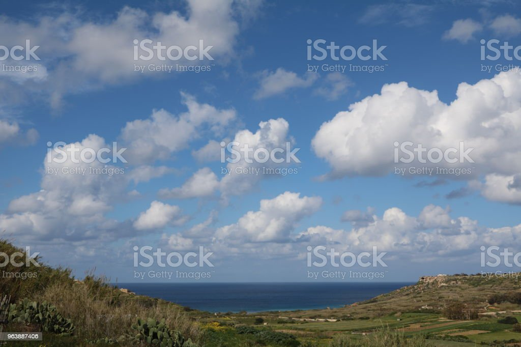 Landscape of Gozo Island Malta at Mediterranean Sea - Royalty-free Agricultural Field Stock Photo
