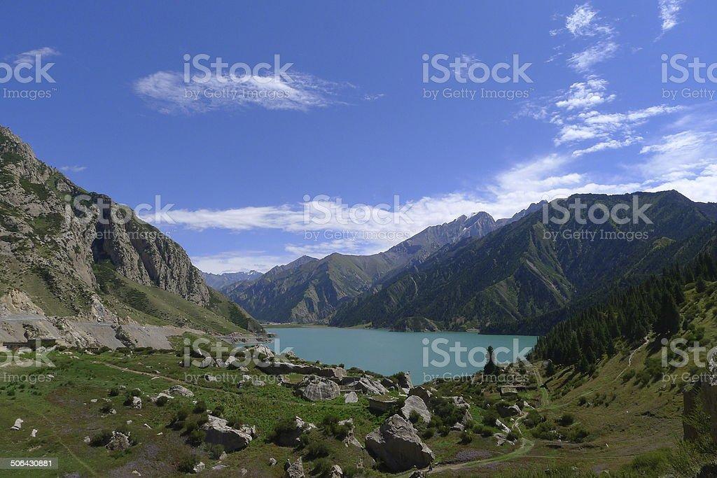 Landscape of Great Dragon Lake in Tianshan mountain, Xinjiang, China stock photo