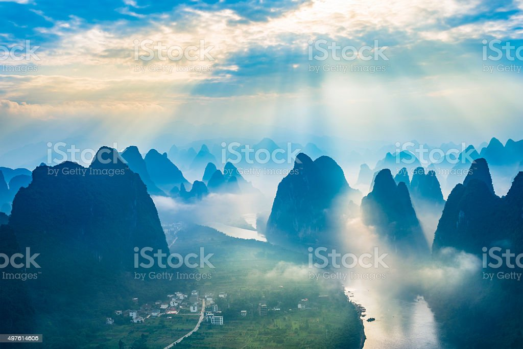 Landscape of Guilin, Li River and Karst mountains. Located near The...