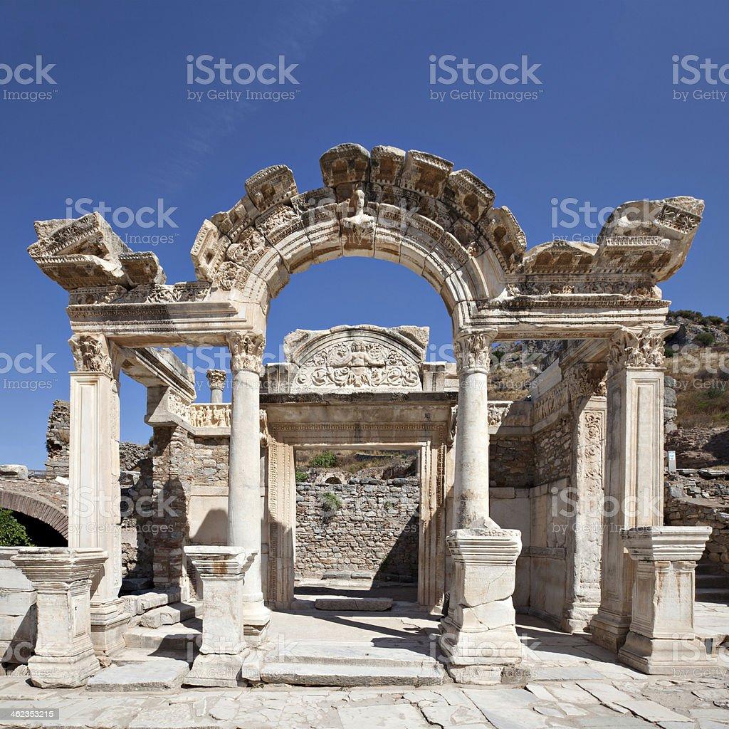 Landscape of Hadrians Temple, Ephesus stock photo