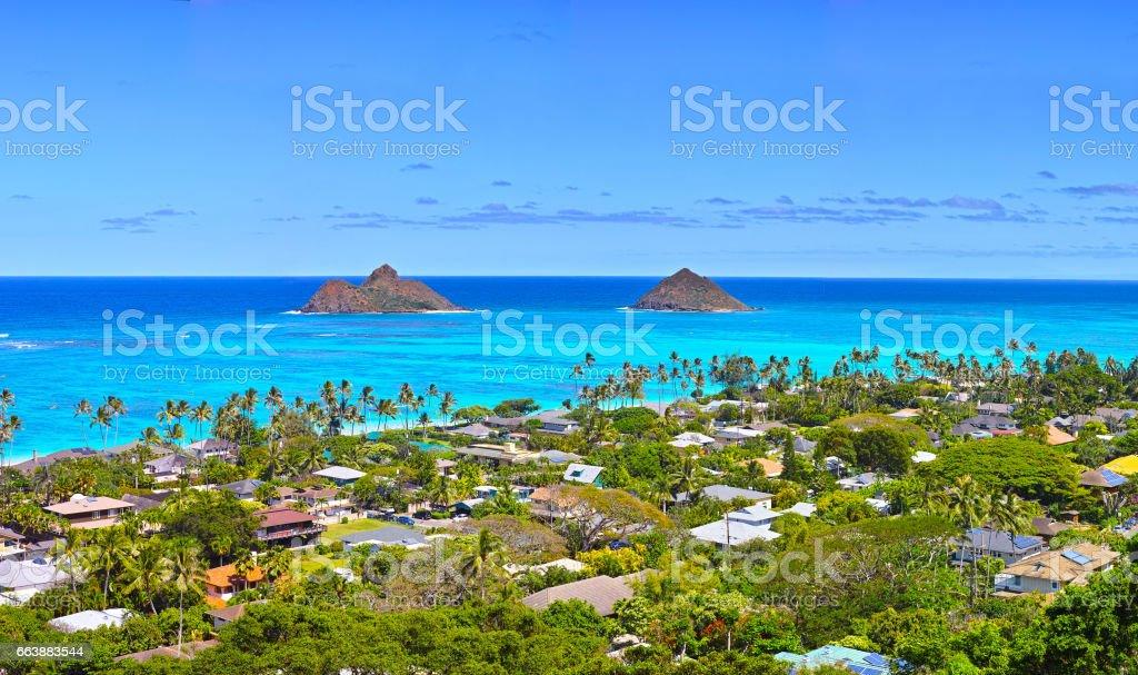 Landscape of Hawaii Lanikai Beach stock photo