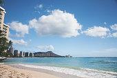 View of the Waikiki beach, Waikiki town, and the Diamond Head.