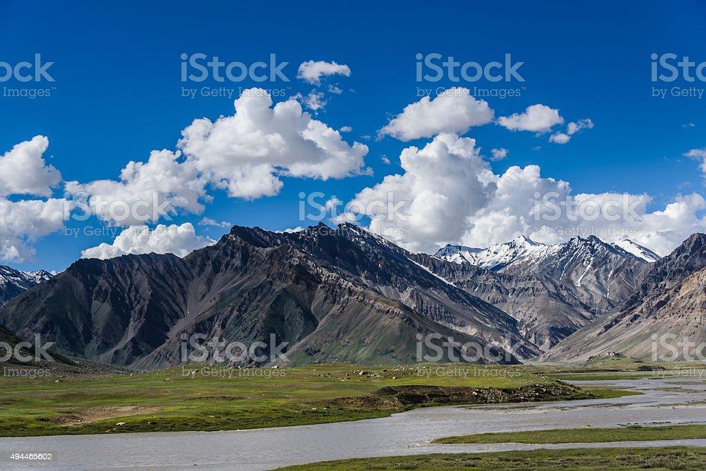 Landscape of Himalayan Mountain and river, Zanskar, India. stock photo