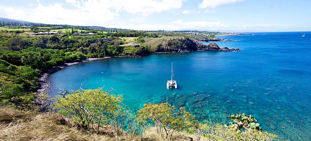 Landscape of Honolua Bay in Maui Hawaii stock photo