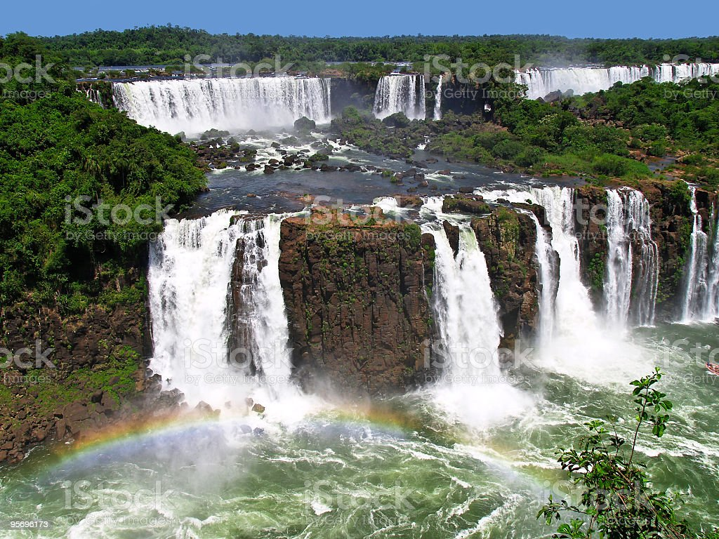 Landscape of Iguacu Falls with a rainbow stock photo