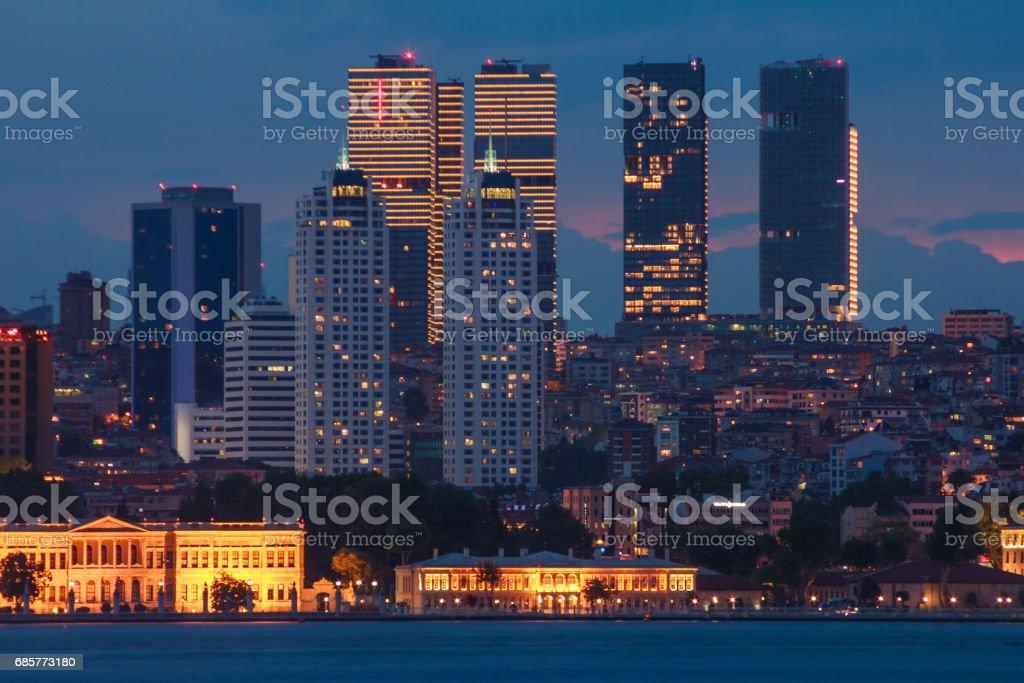 Landscape of Istanbul at night.  Turkey. royalty-free stock photo