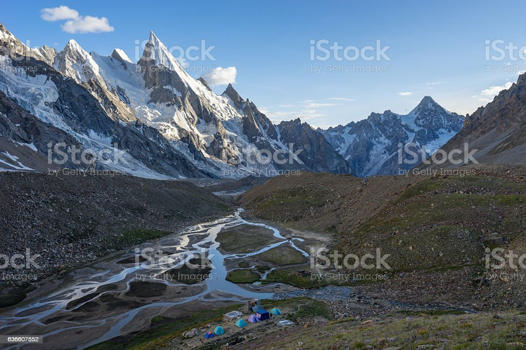 Landscape of Khuspang camp before sunset, K2 trek, Pakistan stock photo