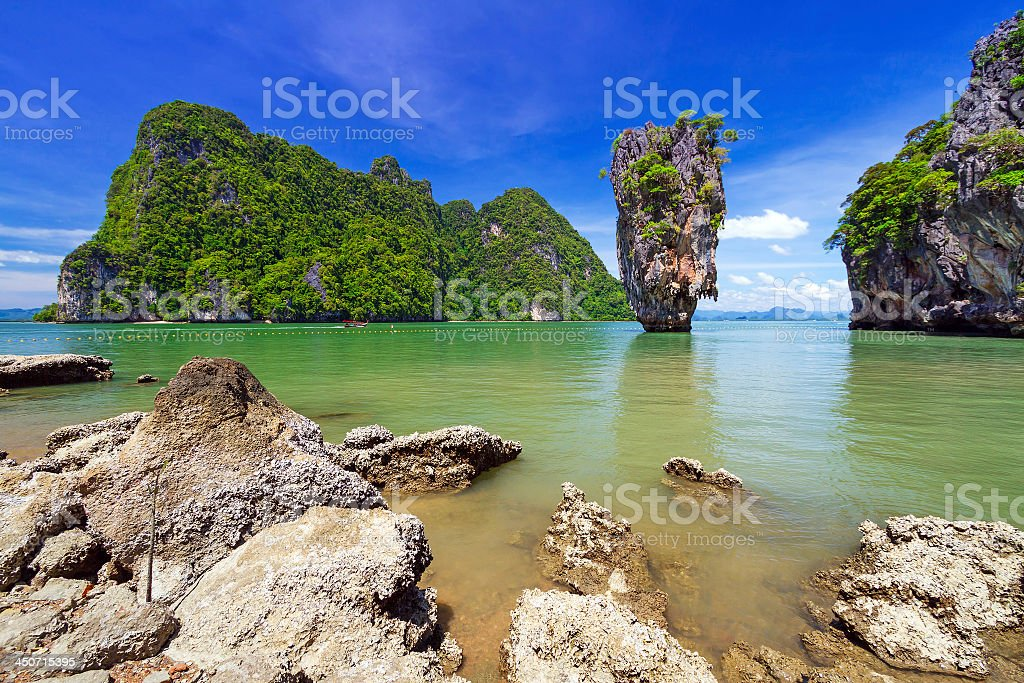 Landscape of Ko Tapu rock on James Bond Island stock photo