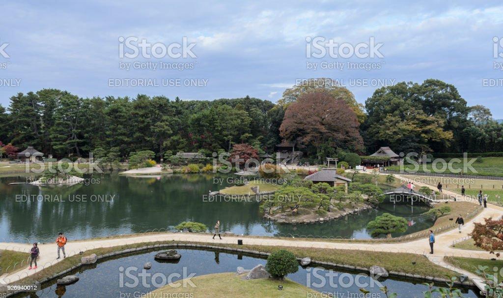 Landschaft der Korakuen-Garten in Okayama, Japan – Foto