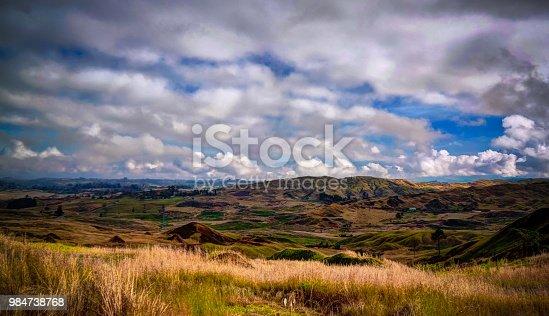 Landscape of Kratke mountain range around Ramu river and valley at Eastern Highlands Province, Papua New Gunea