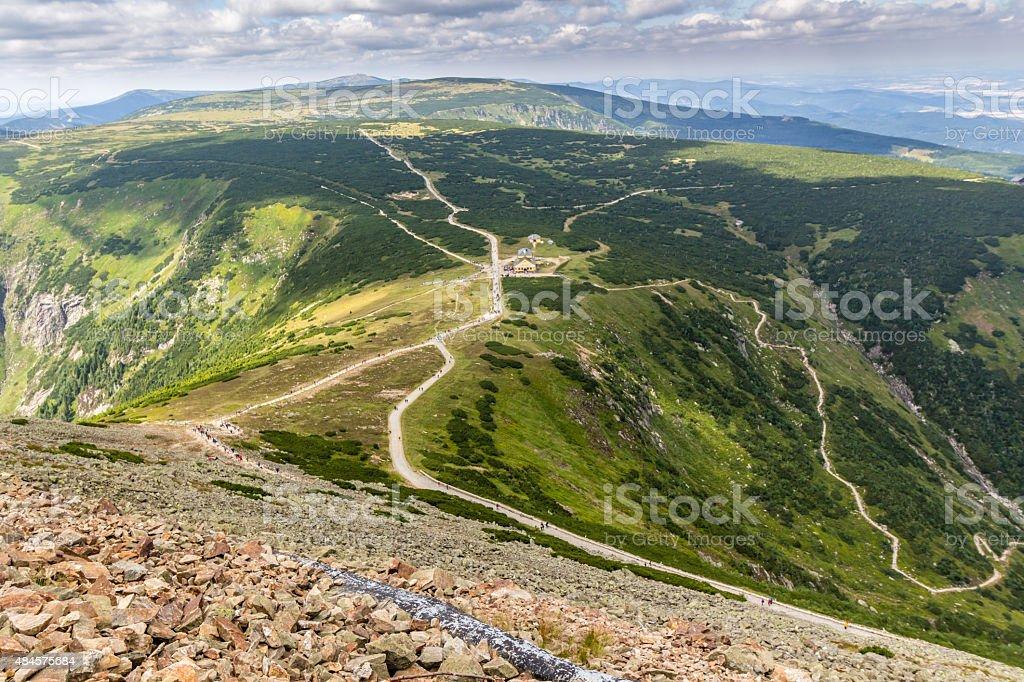 Landscape of Krkonose mountains, Czech Republic stock photo