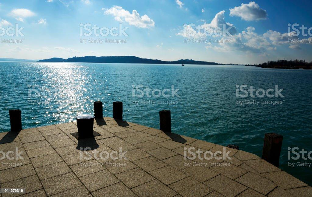 Landscape of Lake Balaton at Balatonfured, Hungary stock photo