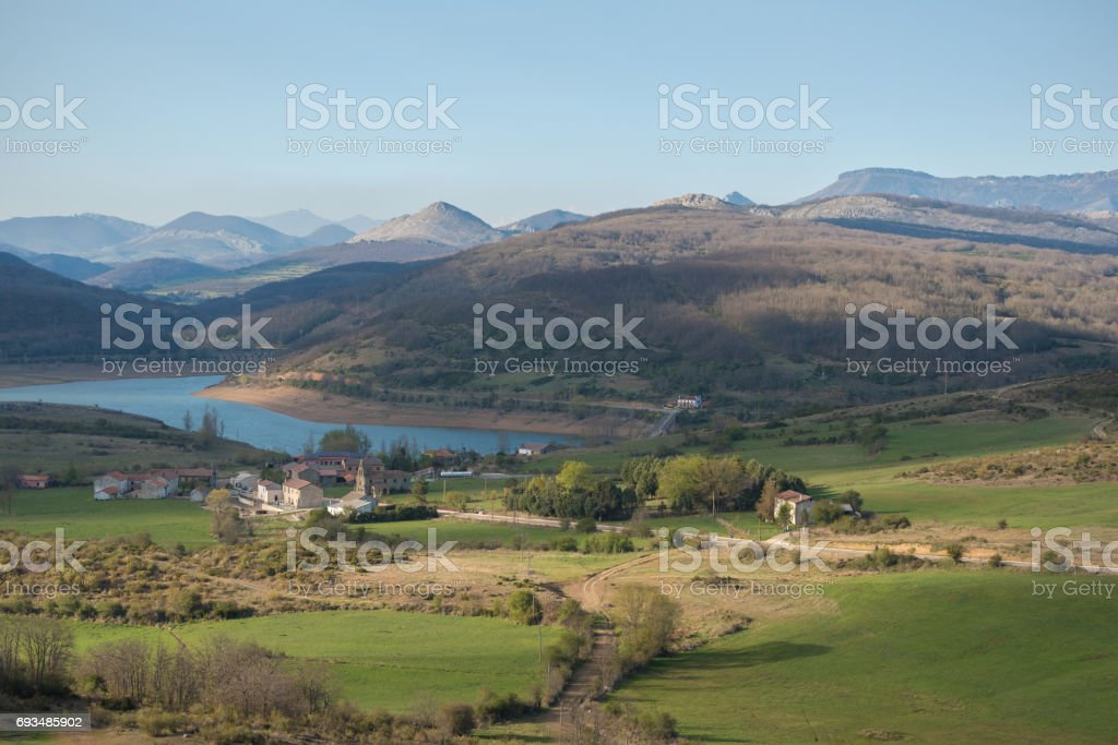 landscape of lake in Palencia, Castilla y León, Spain. stock photo