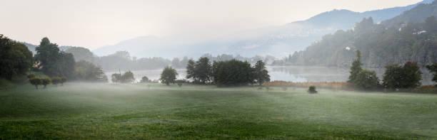 Landscape of lake Muzzano near Lugano stock photo