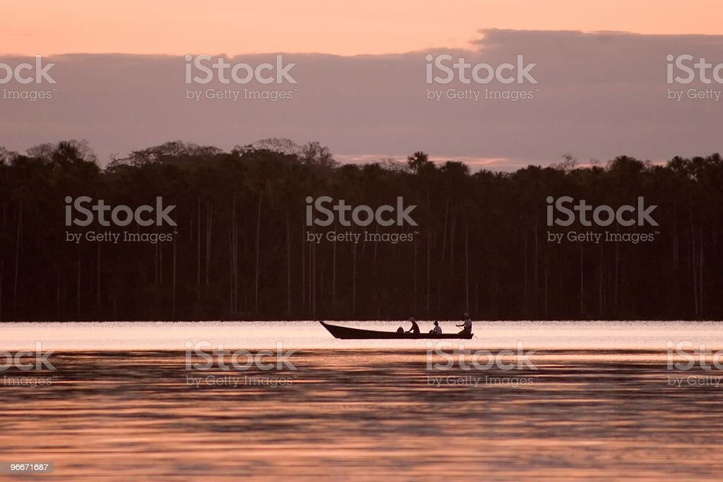 Landscape of Lake Sandoval and boat Lake Sandoval is located Tambopata-Candamo which is a nature reserve in the Peruvian Amazon Basin south of the Madre de Dios River Beauty In Nature Stock Photo