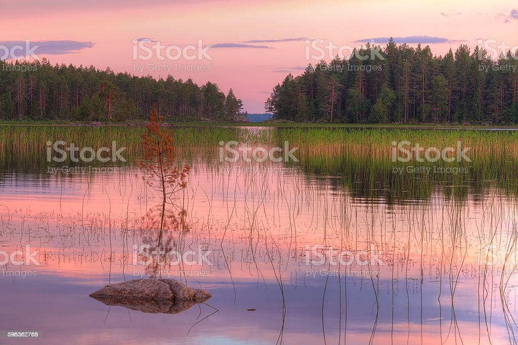 Landscape of lake with beautiful sky in evening royalty-free stock photo