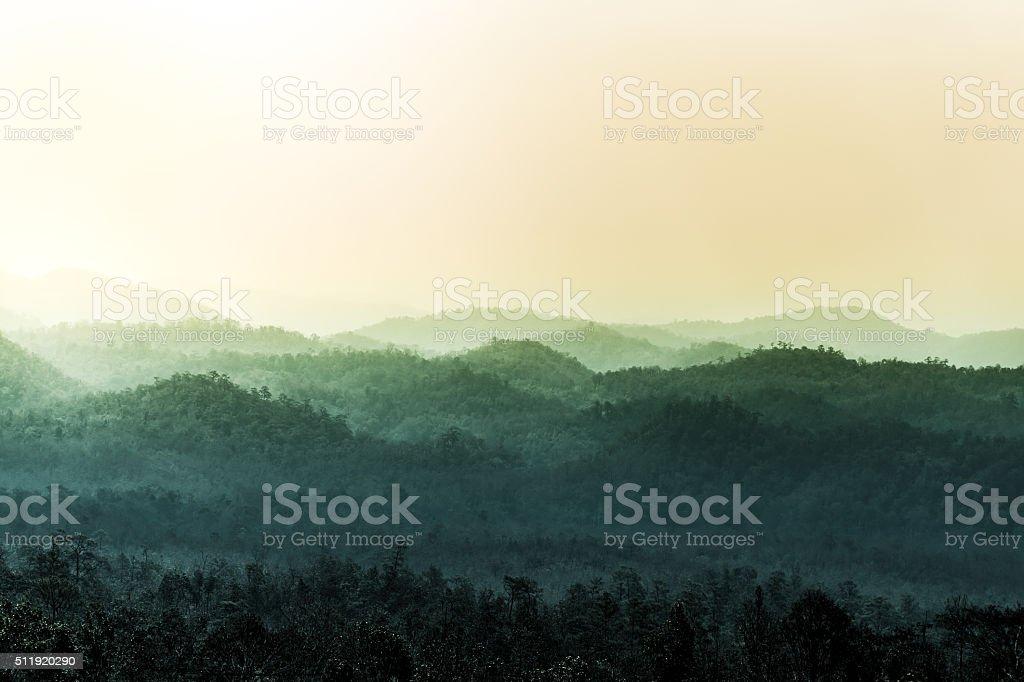 Landscape of layer of mountain, imbue tone stock photo