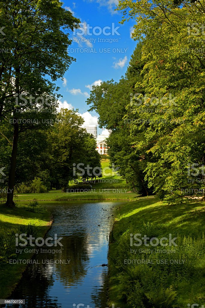 Landscape of Lazienki Royal Park,Warsaw stock photo