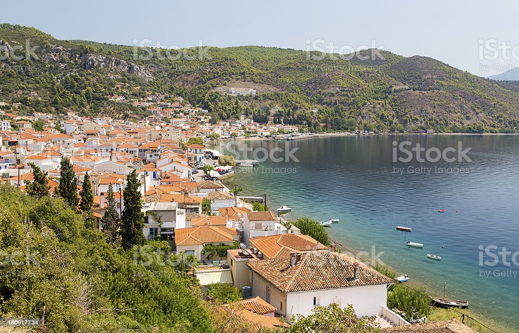 Landscape of Limni Village in Euboea, Greece royalty-free stock photo