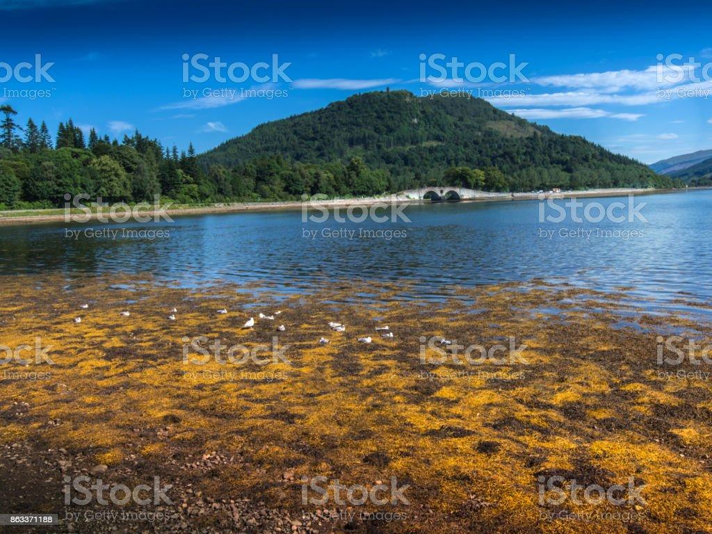 INVERARAY, SCOTLAND Landscape of Loch Fyne with bridge stock photo