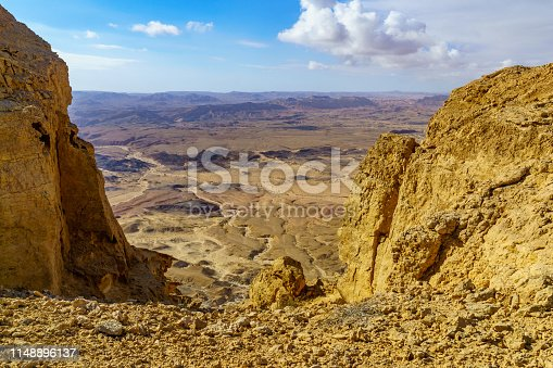 Landscape of Makhtesh (crater) Ramon (from mount Ardon), in the Negev Desert, Southern Israel. It is a geological landform of a large erosion cirque