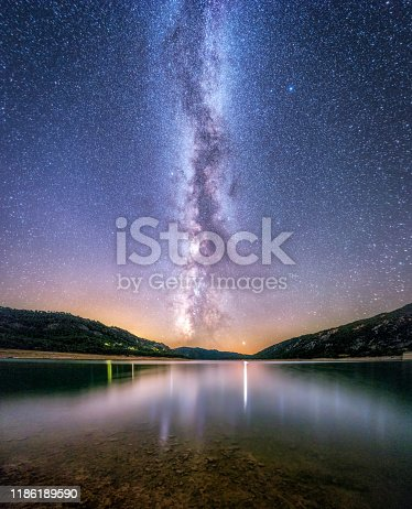 653506436istockphoto landscape of milky way reflected on a lake at night background 1186189590