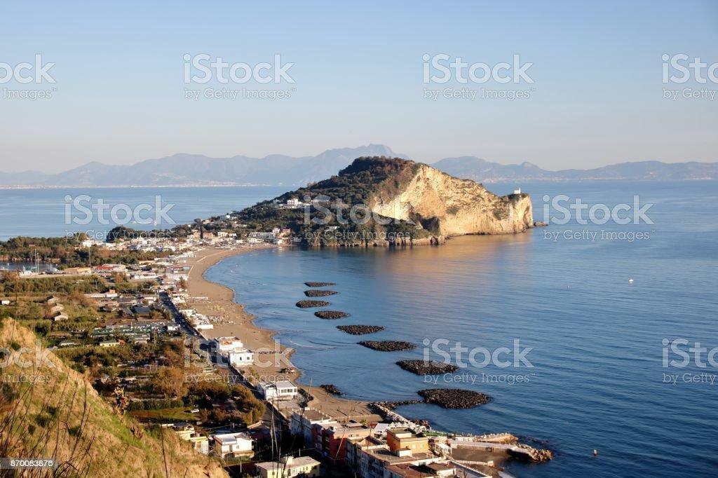 landscape of Miseno from Procida mount stock photo