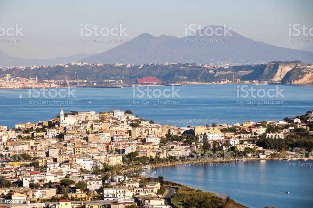 landscape of Miseno lake and gulf stock photo