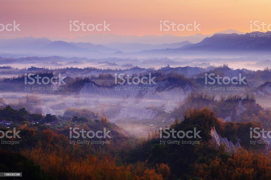Landscape of misty mountains royalty-free stock photo