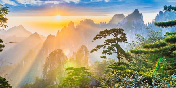 Landscape of Mount Huangshan stock photo