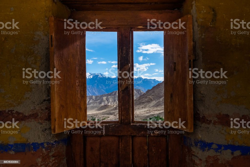 Landscape of mountain around Leh distric from the window of Likir Monastery, Ladakh, India stock photo