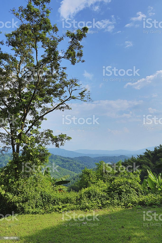 landscape of mountain at top hill royalty-free stock photo