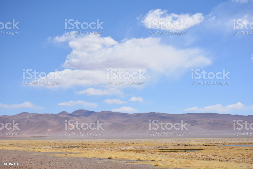 Landscape of mountains and lagoon at Atacama desert in Chile royalty-free stock photo