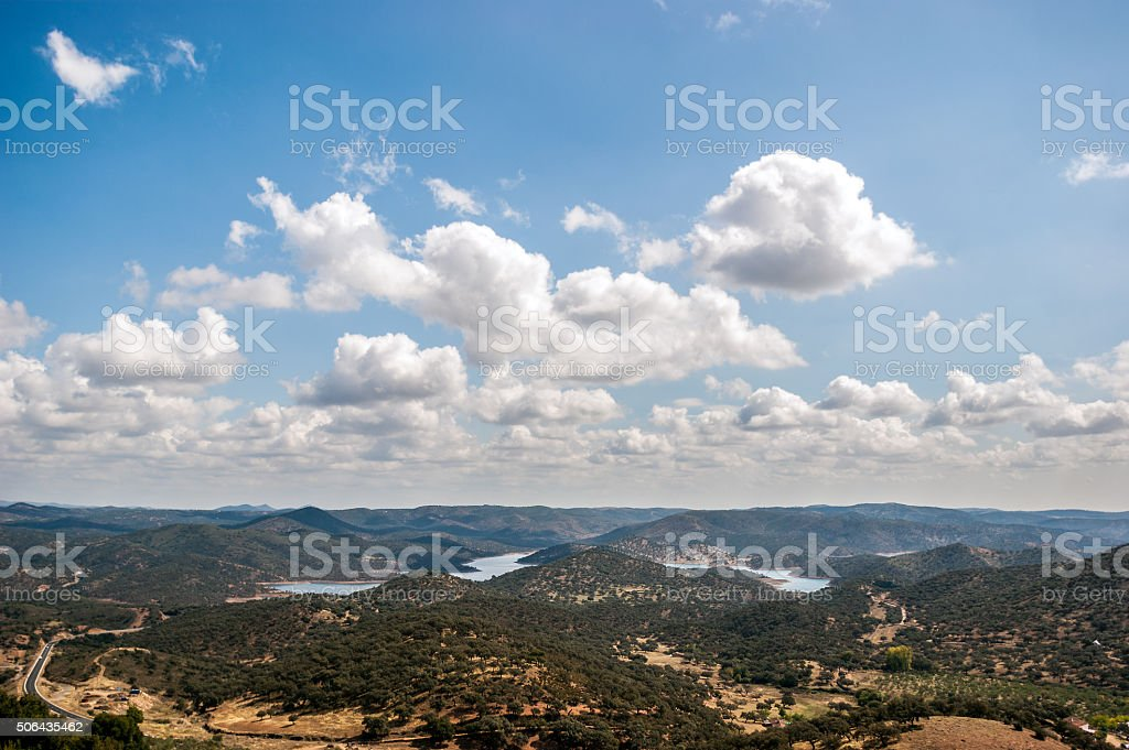 Landscape of mountains with clouds in the sky stock photo